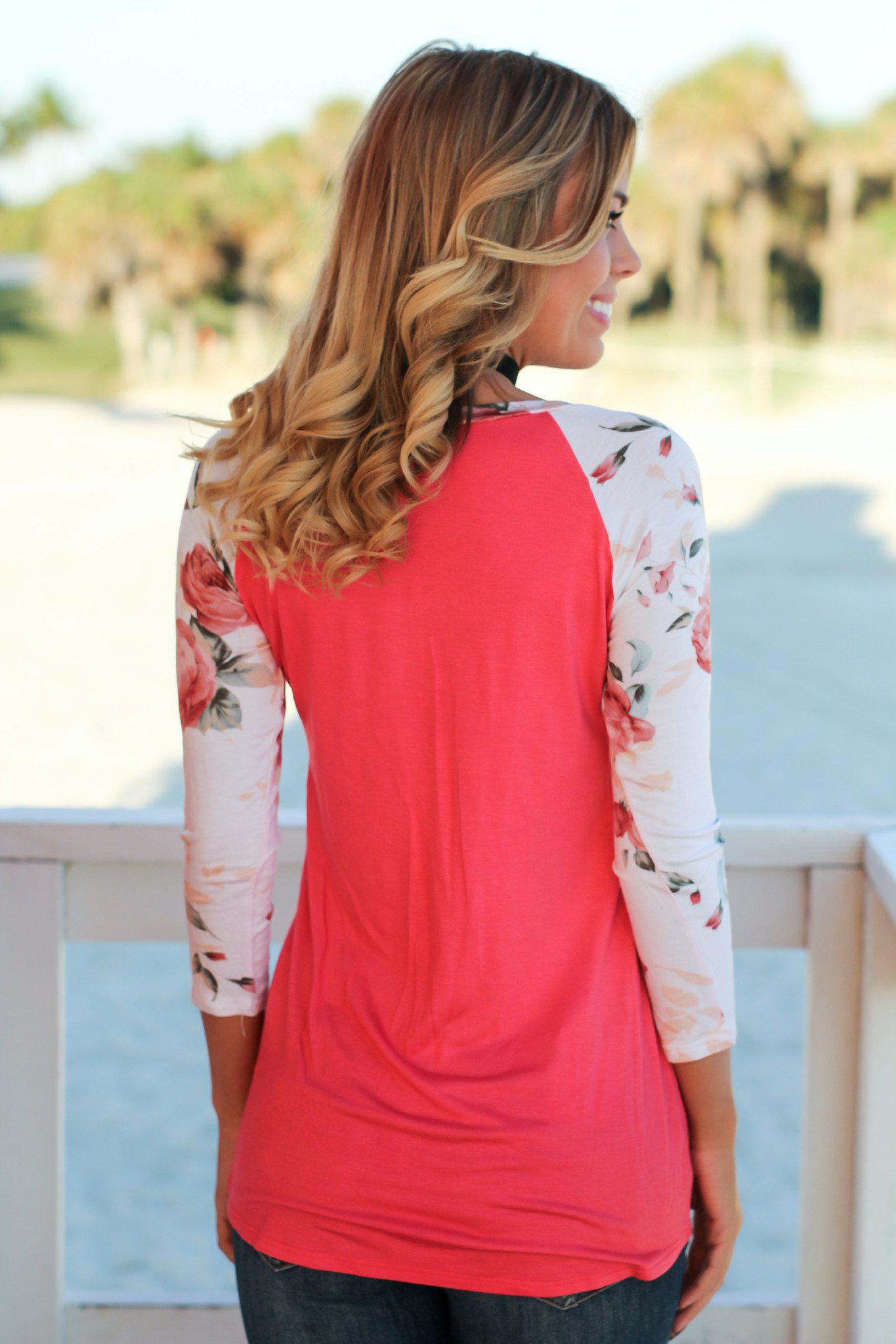 Coral Top with 3/4 Floral Sleeves