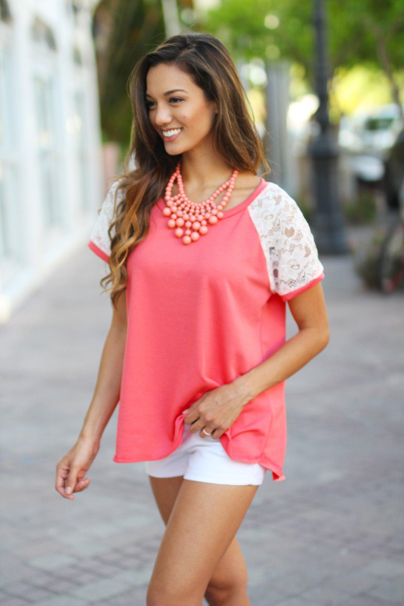 Coral Tee with Lace Sleeves