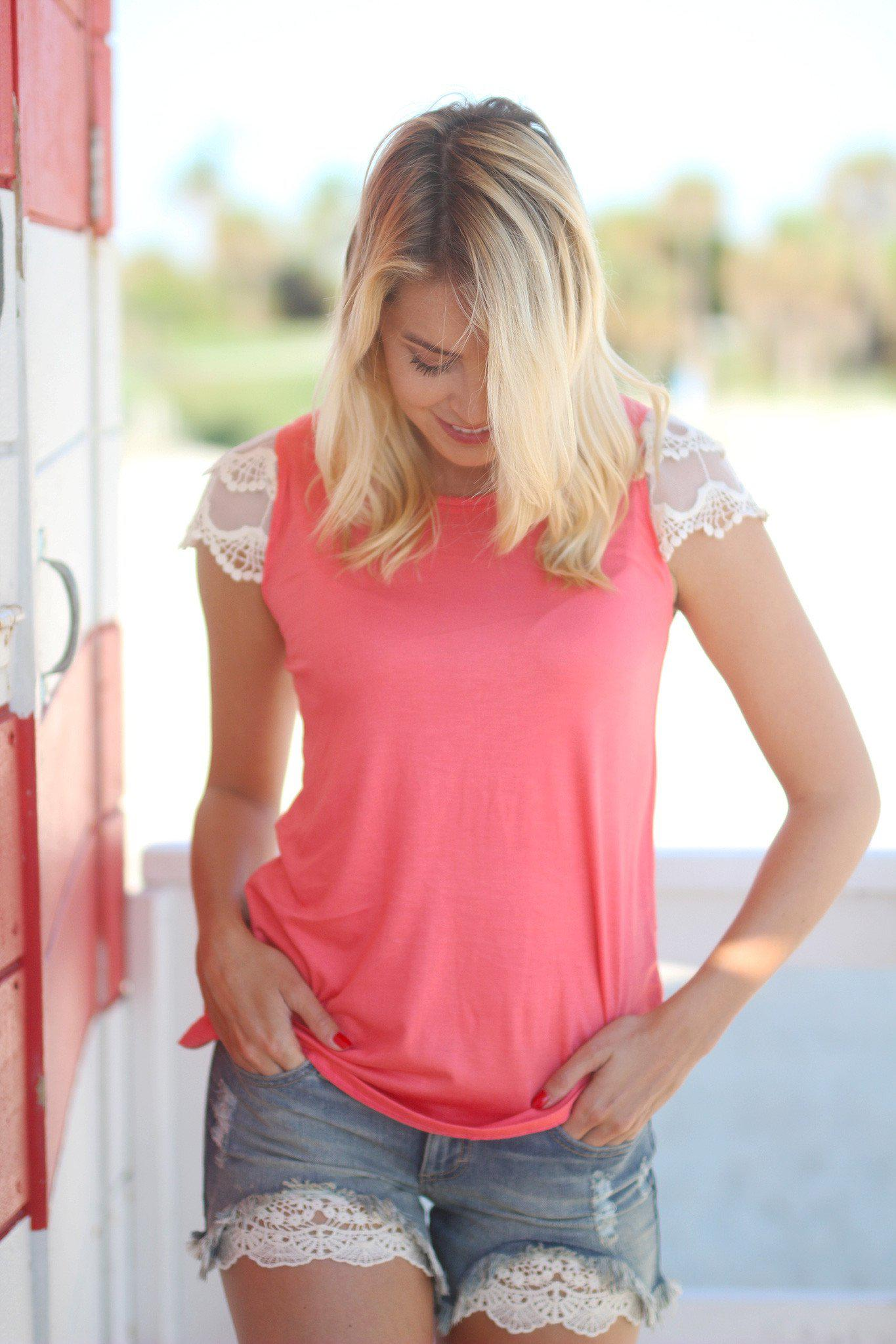 Coral Top with Lace Short Sleeves