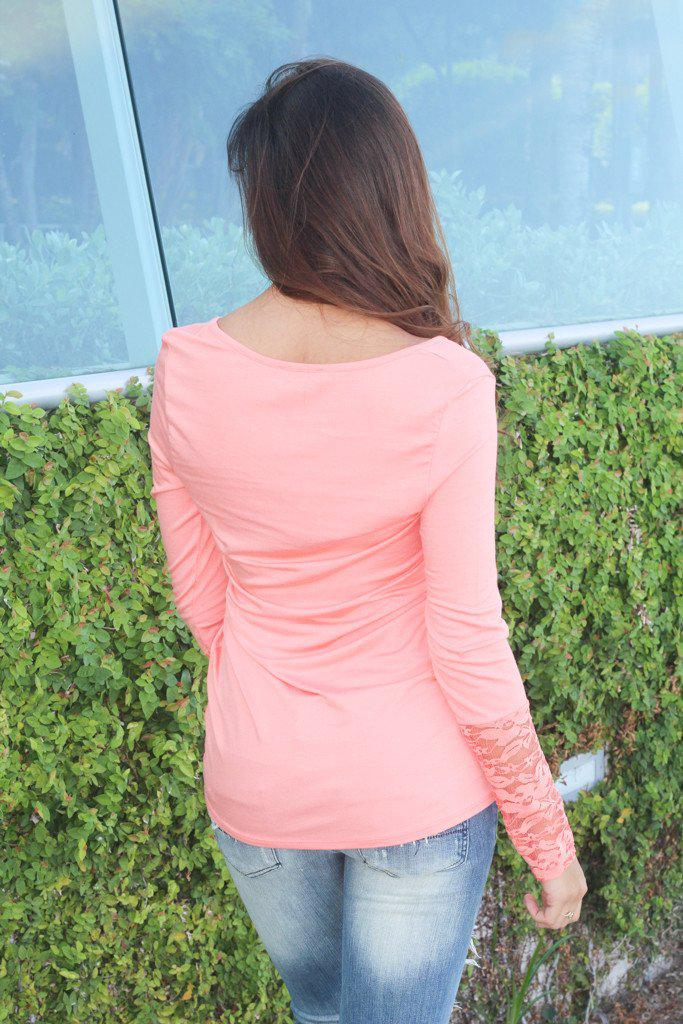 Solid Coral Lace Sleeve Top