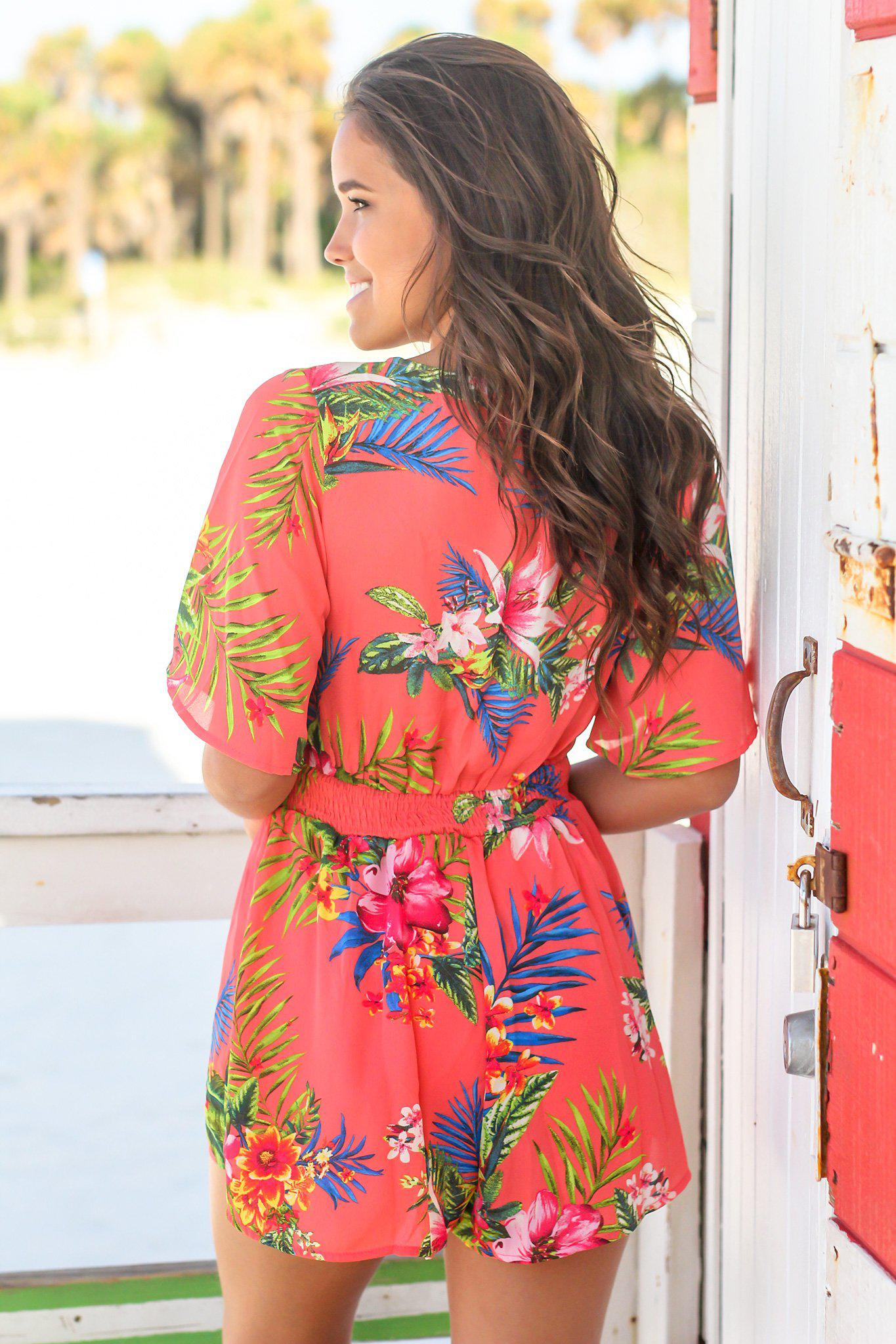 Coral Tropical Front Tie Romper
