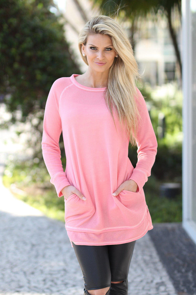 light coral tunic with pocket