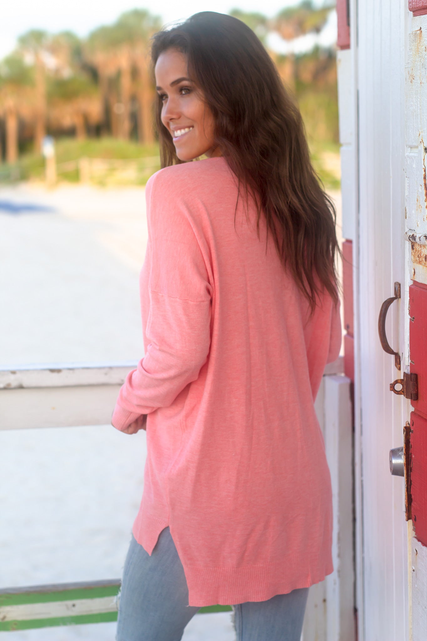 Coral V-Neck Sweater