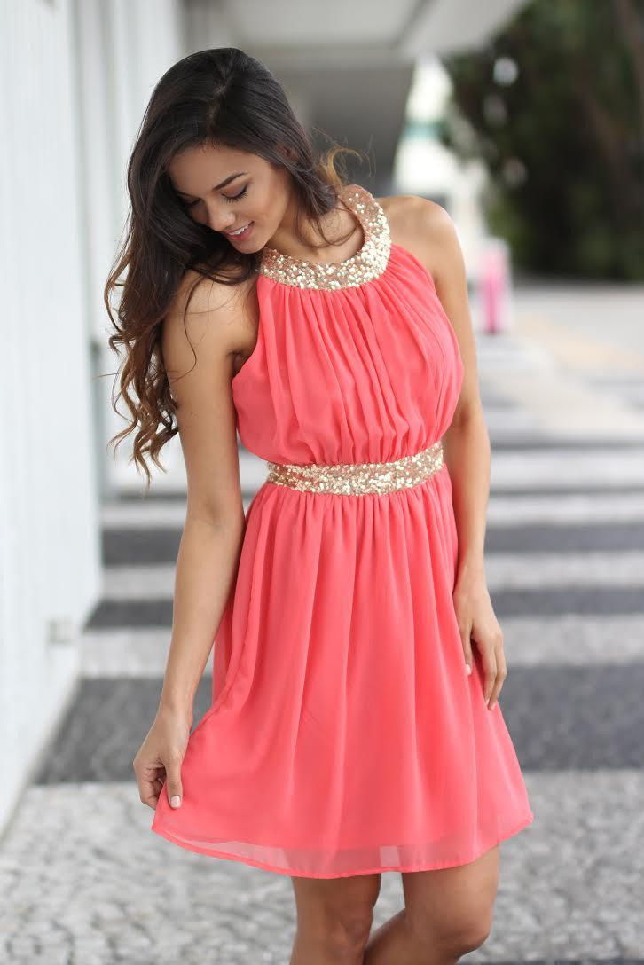 Coral and Gold Sequin Dress