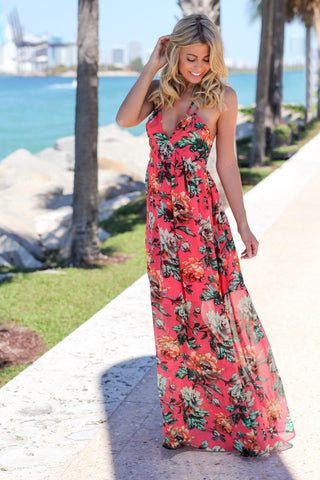 Coral and Green Floral Maxi Dress with Tie Back