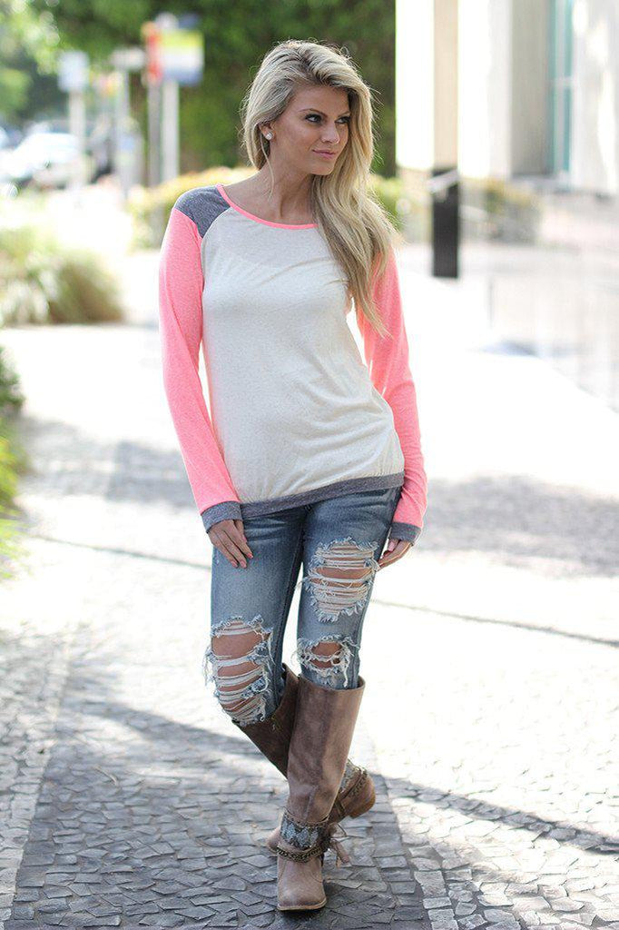 coral and ivory casual top