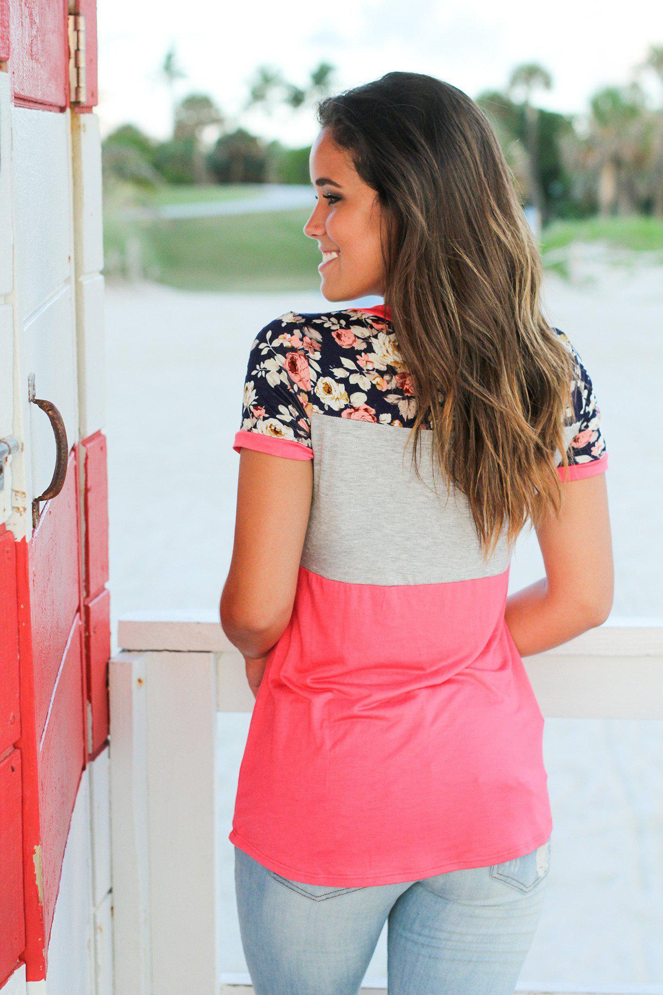 Coral and Navy Floral Top