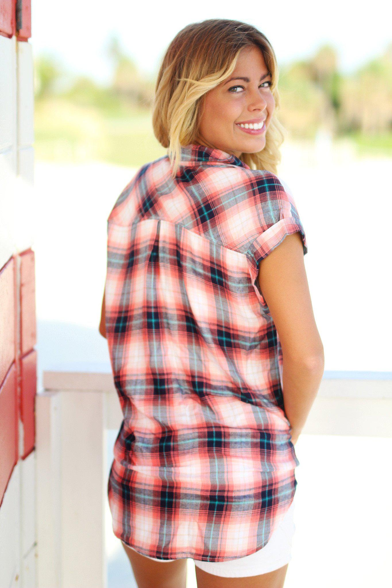 Coral and Navy Plaid Top