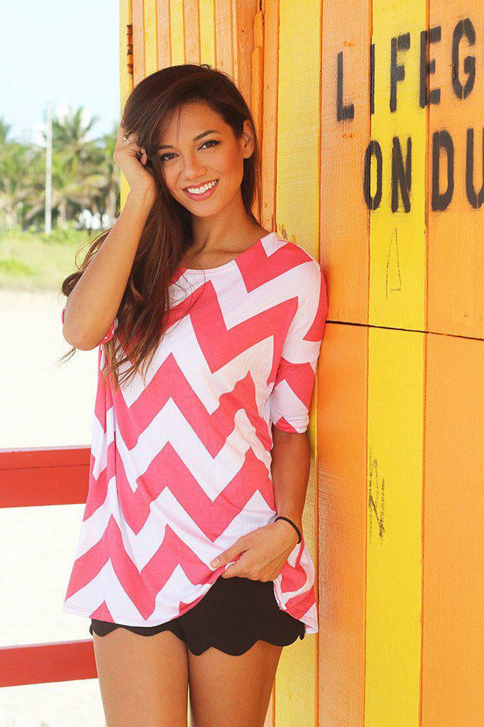 coral top with short sleeves
