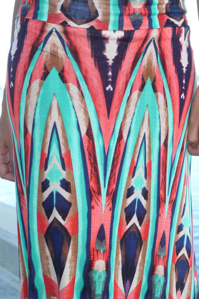 printed multi color long skirt