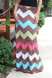 Coral Chevron Maxi Skirt