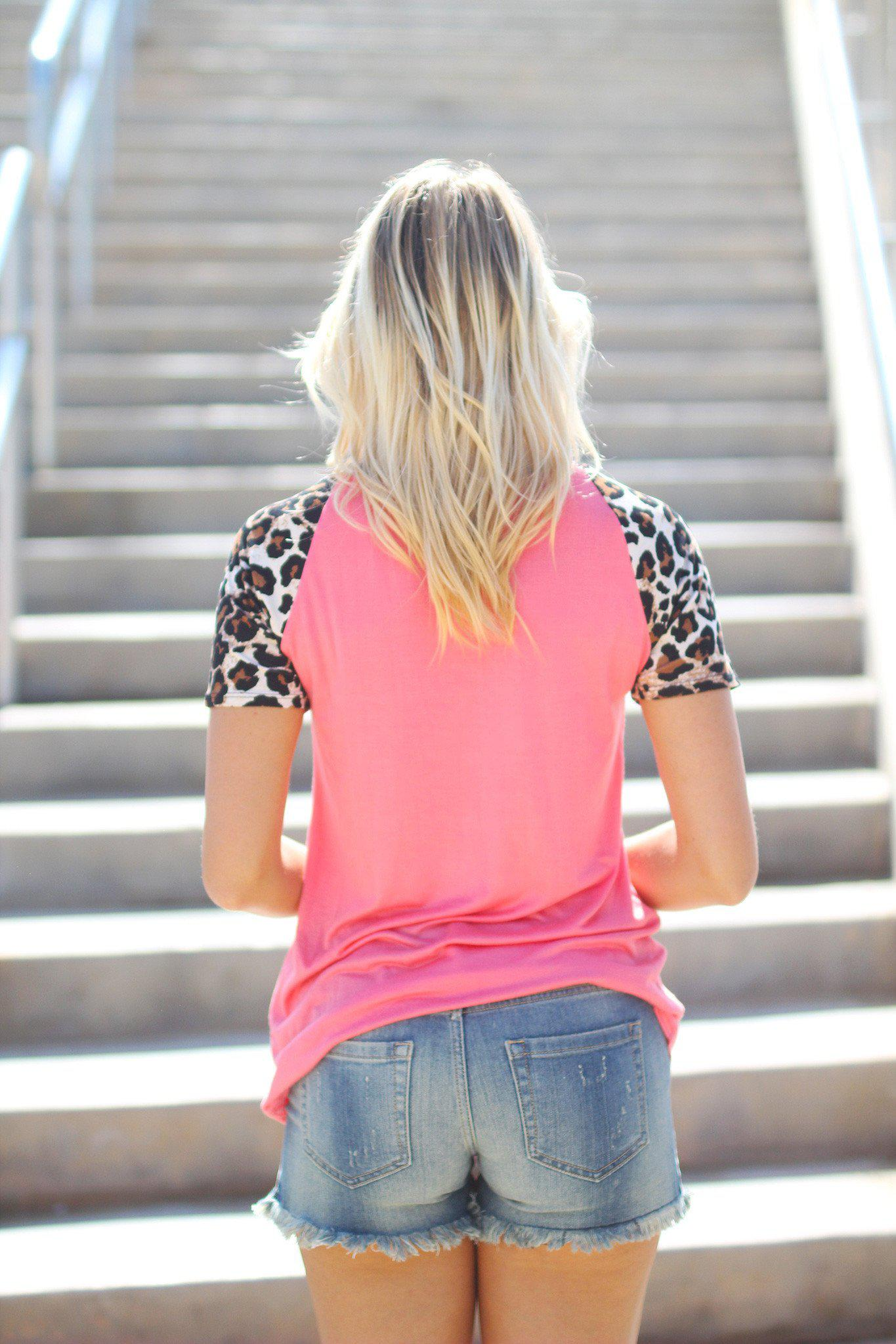 Coral Top with Leopard Sleeves