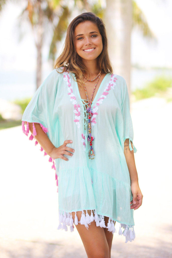 Mint Cover Up with Tassels