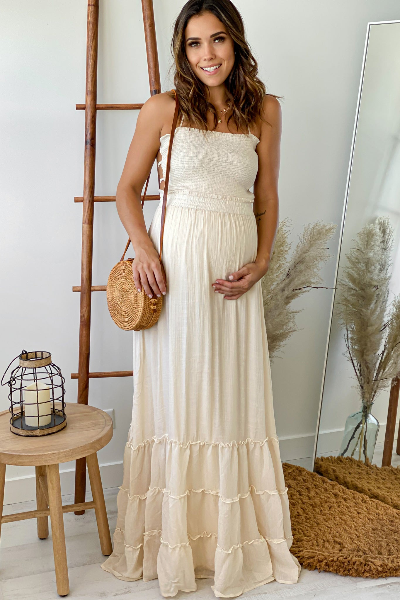 Cream Maternity Maxi Dress with Strappy Back