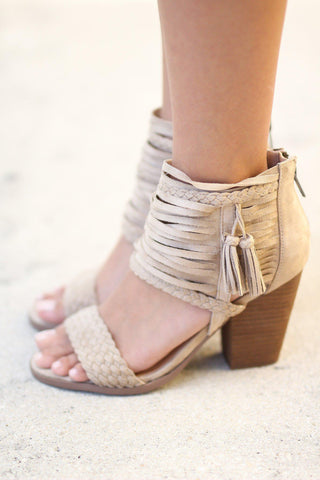 Cream Braided Sandals with Tassels