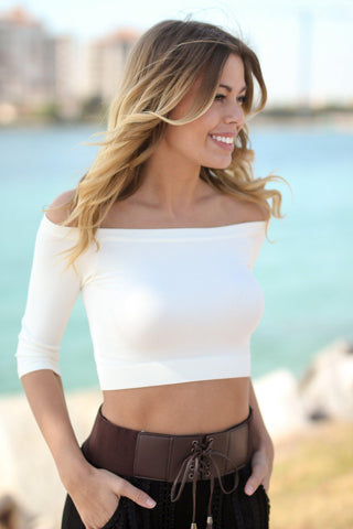 Cream Crop Top with 3/4 Sleeves
