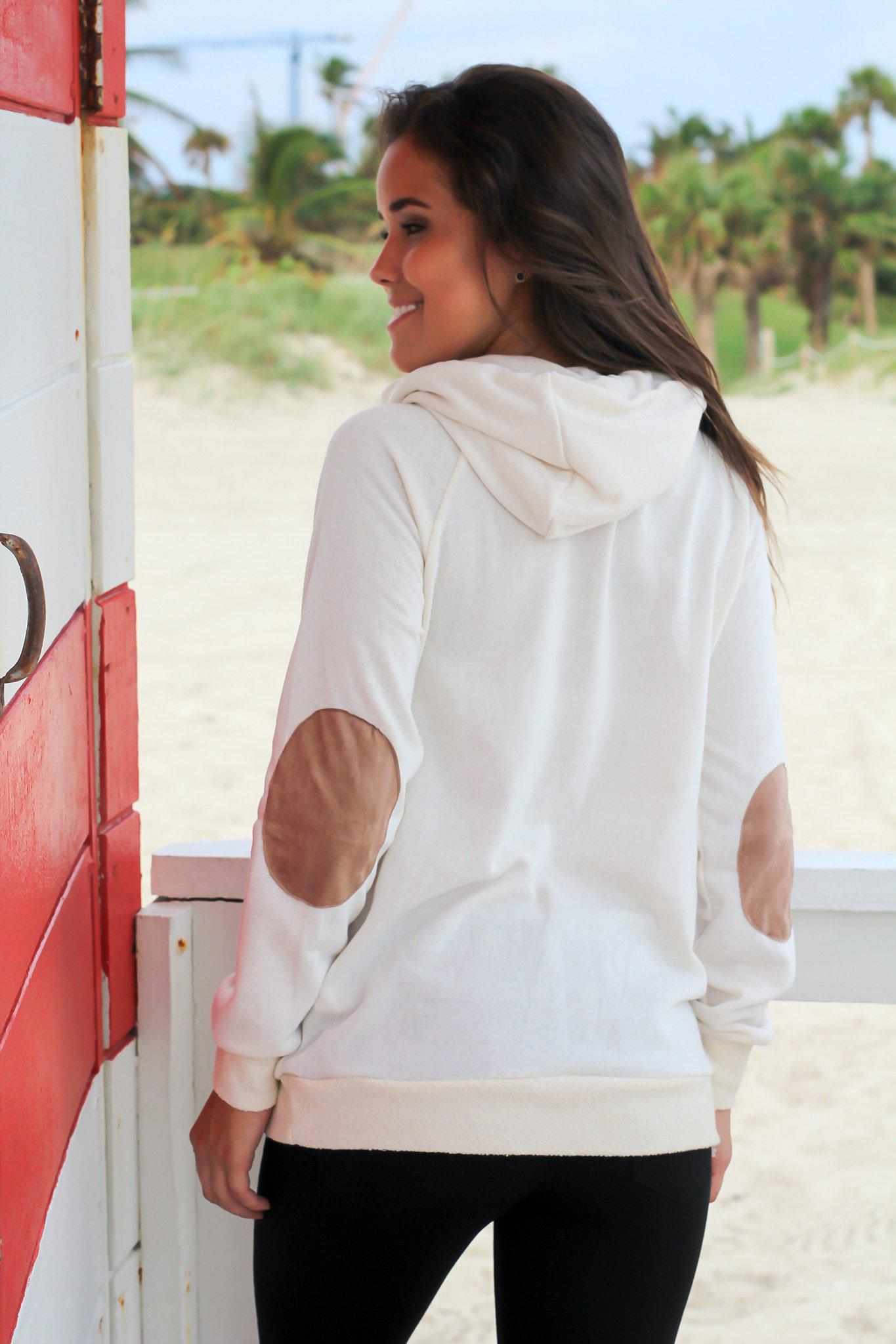 Cream Cowl Neck Hoodie with Suede Details