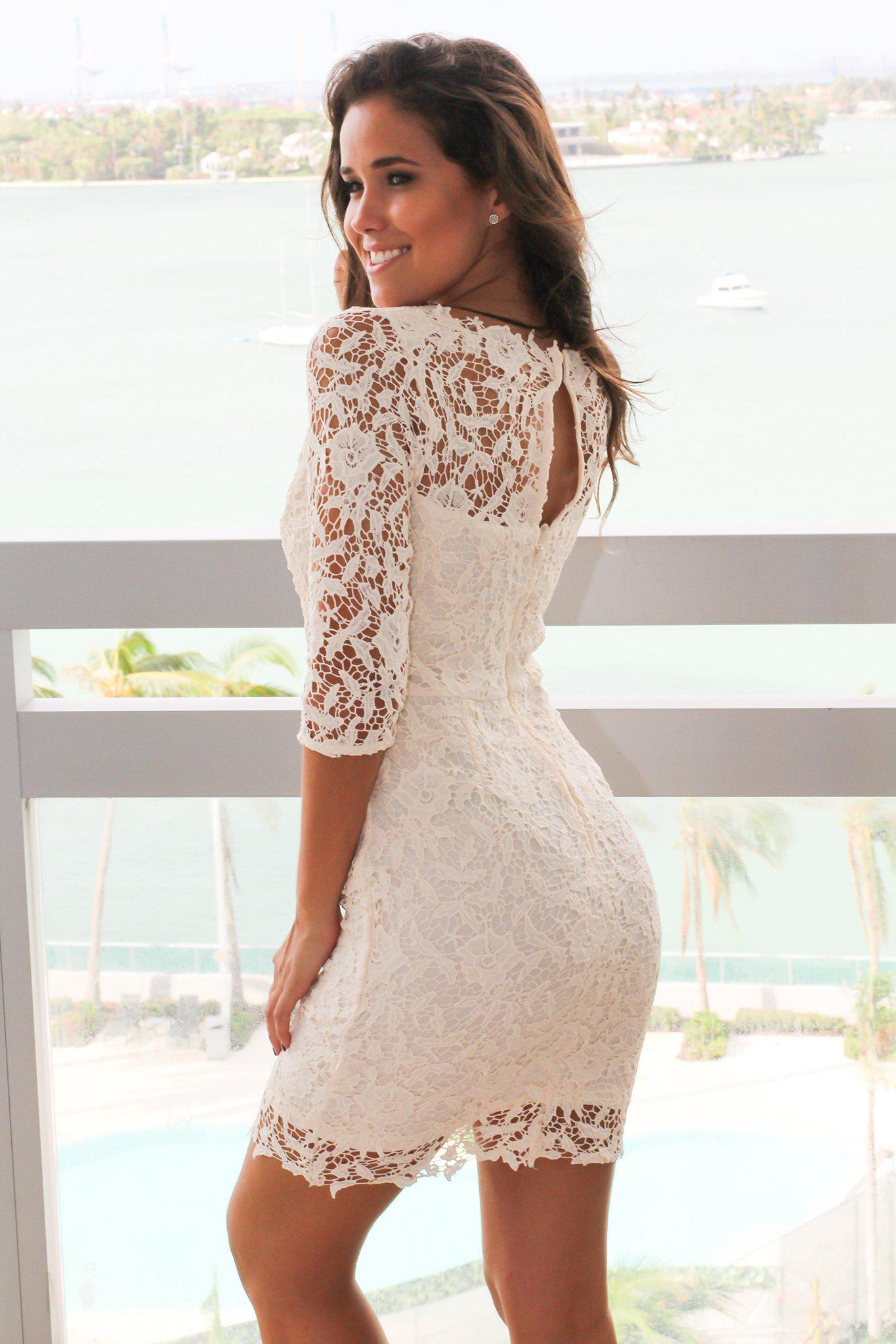 Cream Crochet Short Dress with 3/4 Sleeves