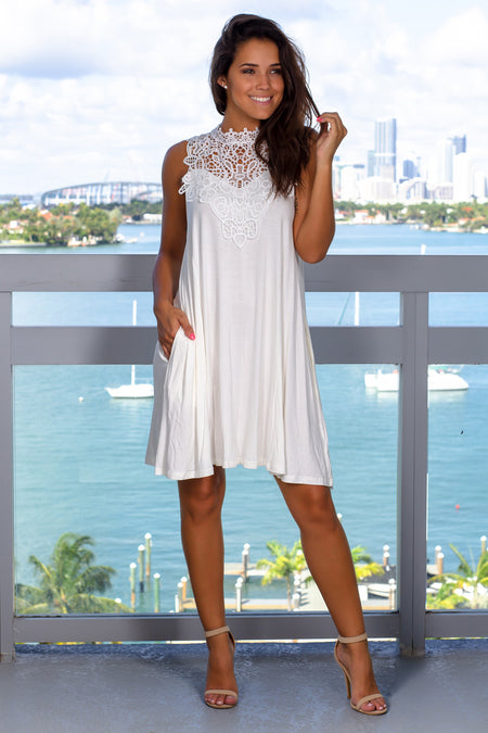 Cream Crochet Top Short Dress