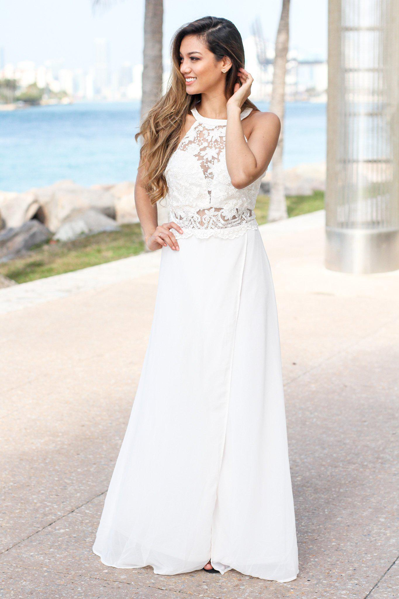 Cream High Neck Maxi Dress With Embroidered Top And Slit Formal