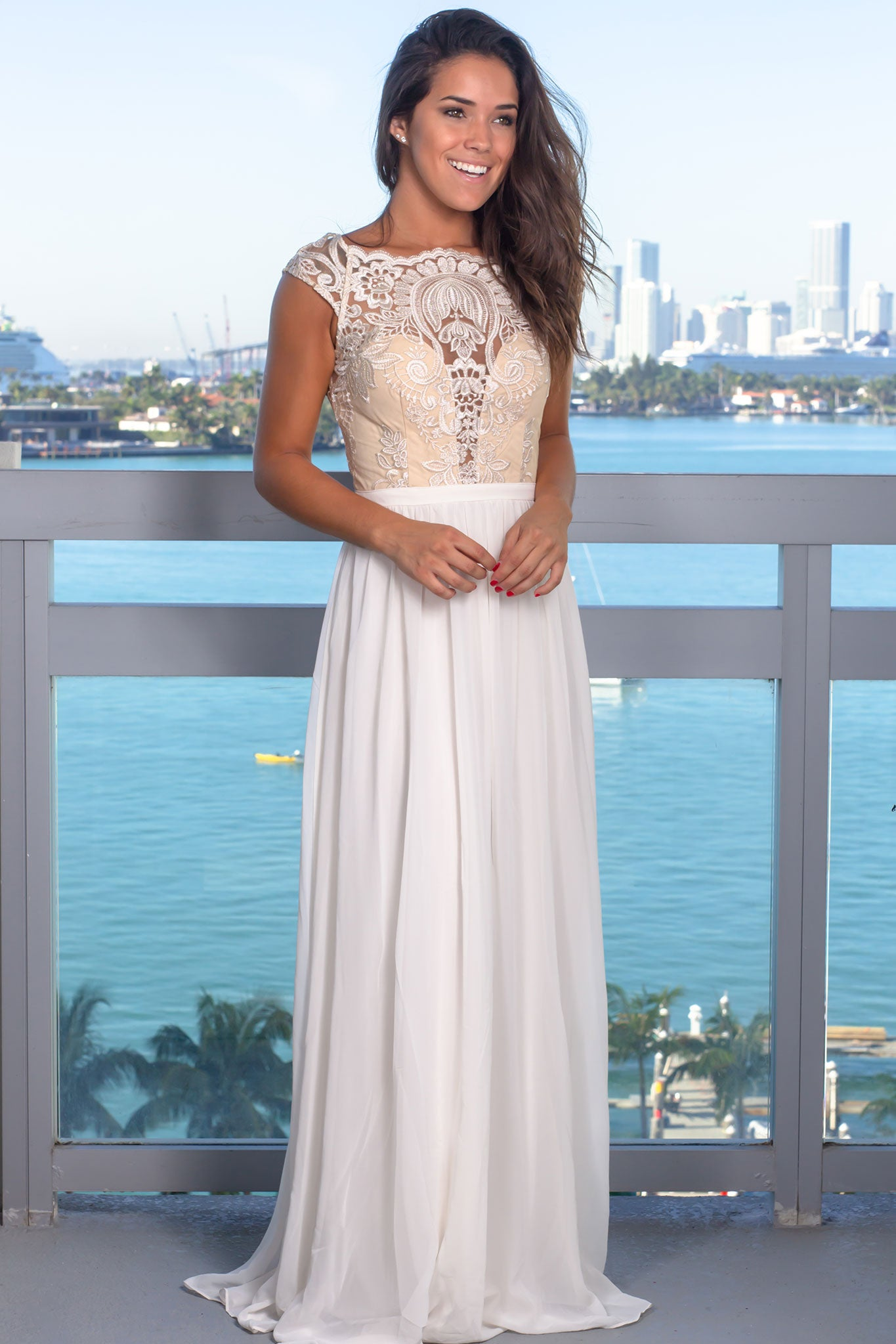 Cream Embroidered Top Off Shoulder Maxi Dress