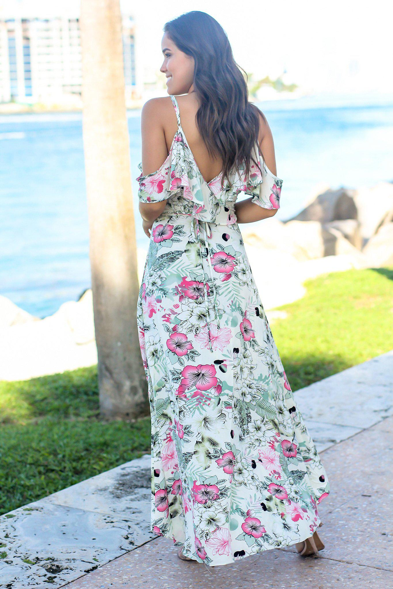 Cream Floral Cold Shoulder High Low Dress