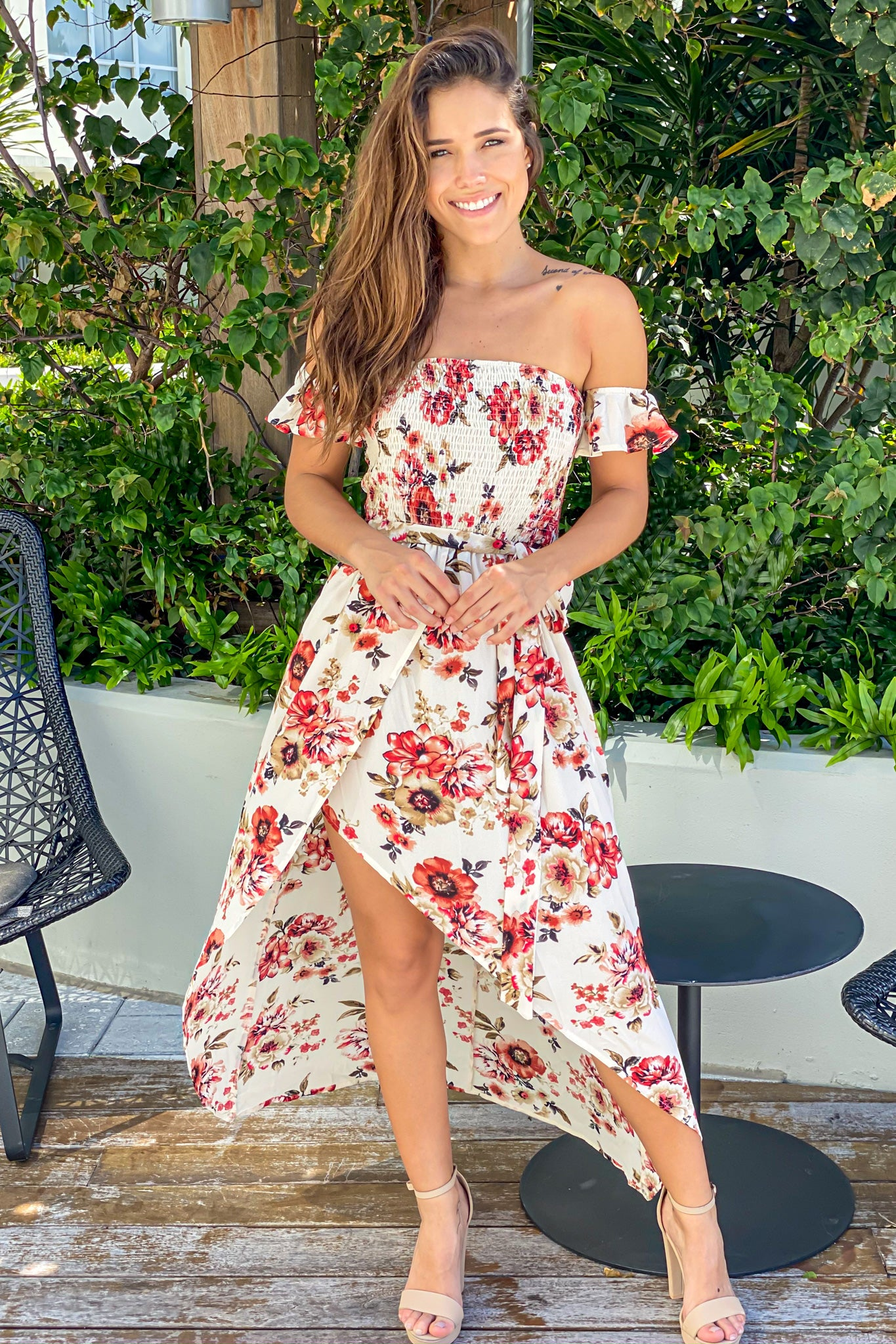 Cream Floral High Low Dress