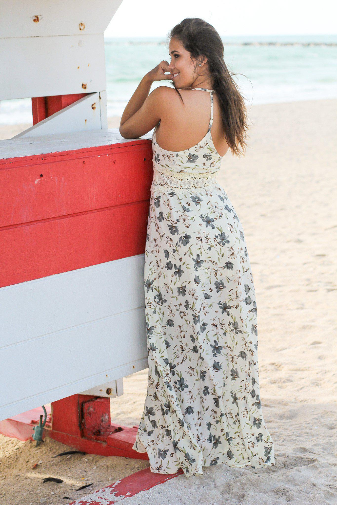 Cream Floral Maxi Dress with Crochet Detail