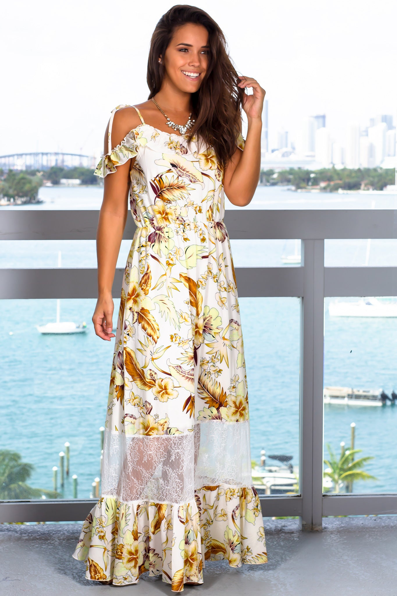 Cream Floral Maxi Dress with Lace Detail