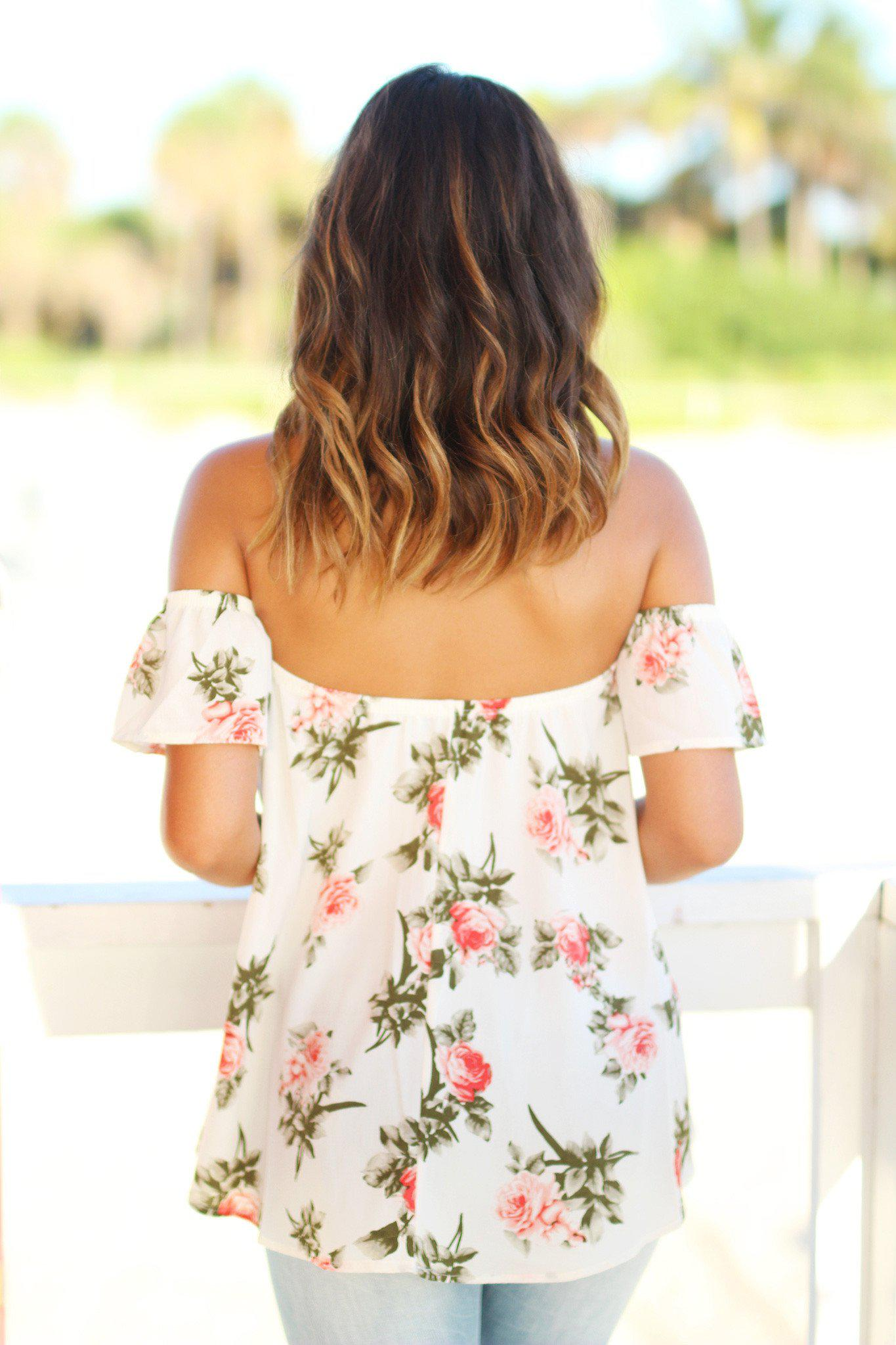 Cream Floral Off Shoulder Top