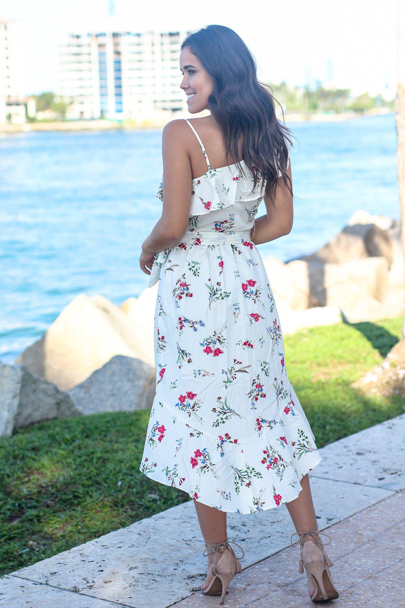 Cream Floral One Shoulder High Low Dress