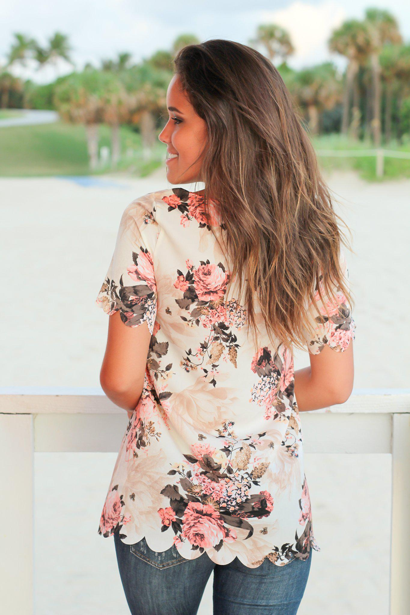 Cream Floral Scalloped Top