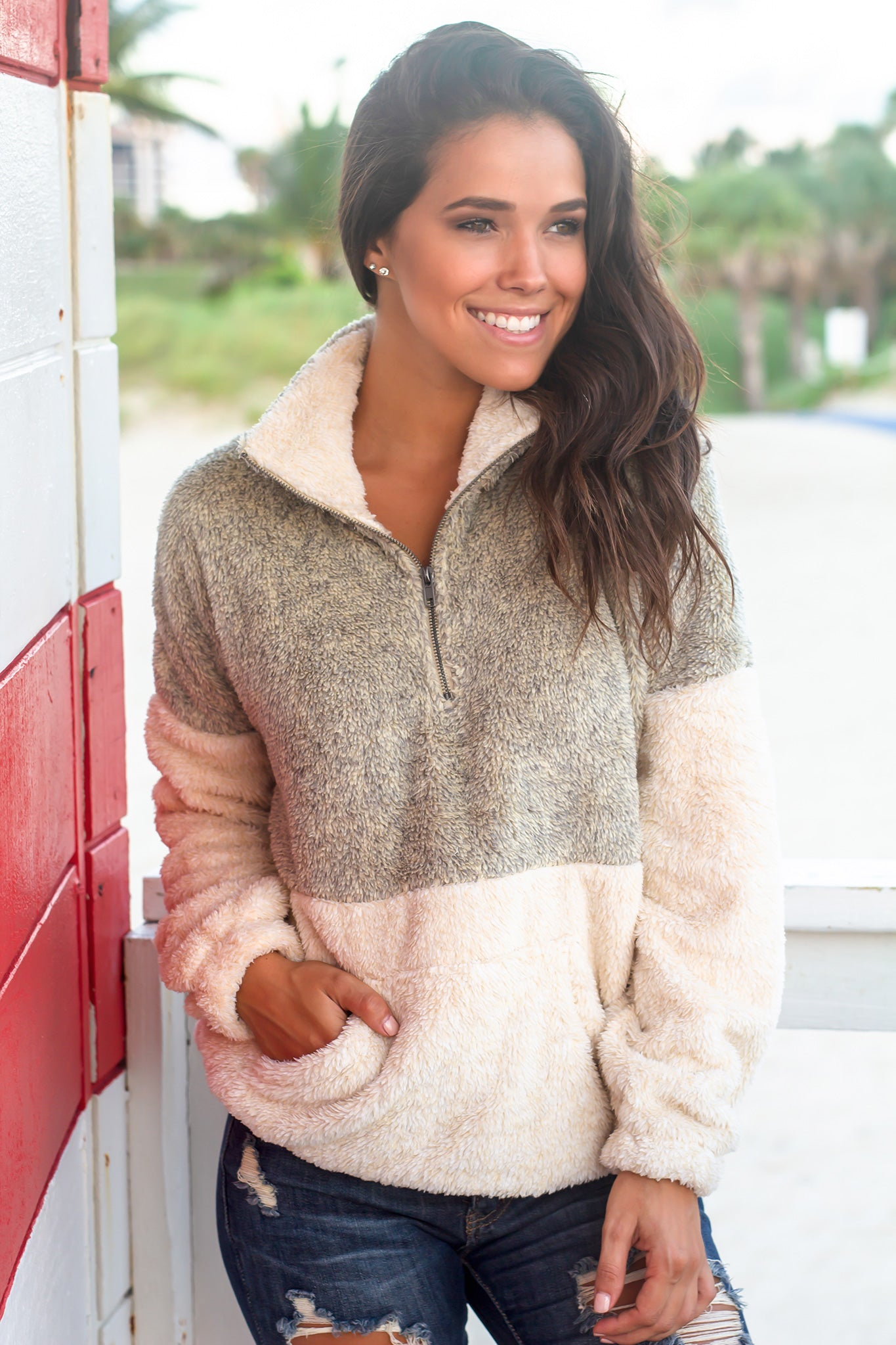 Cream Fuzzy Pullover Sweater