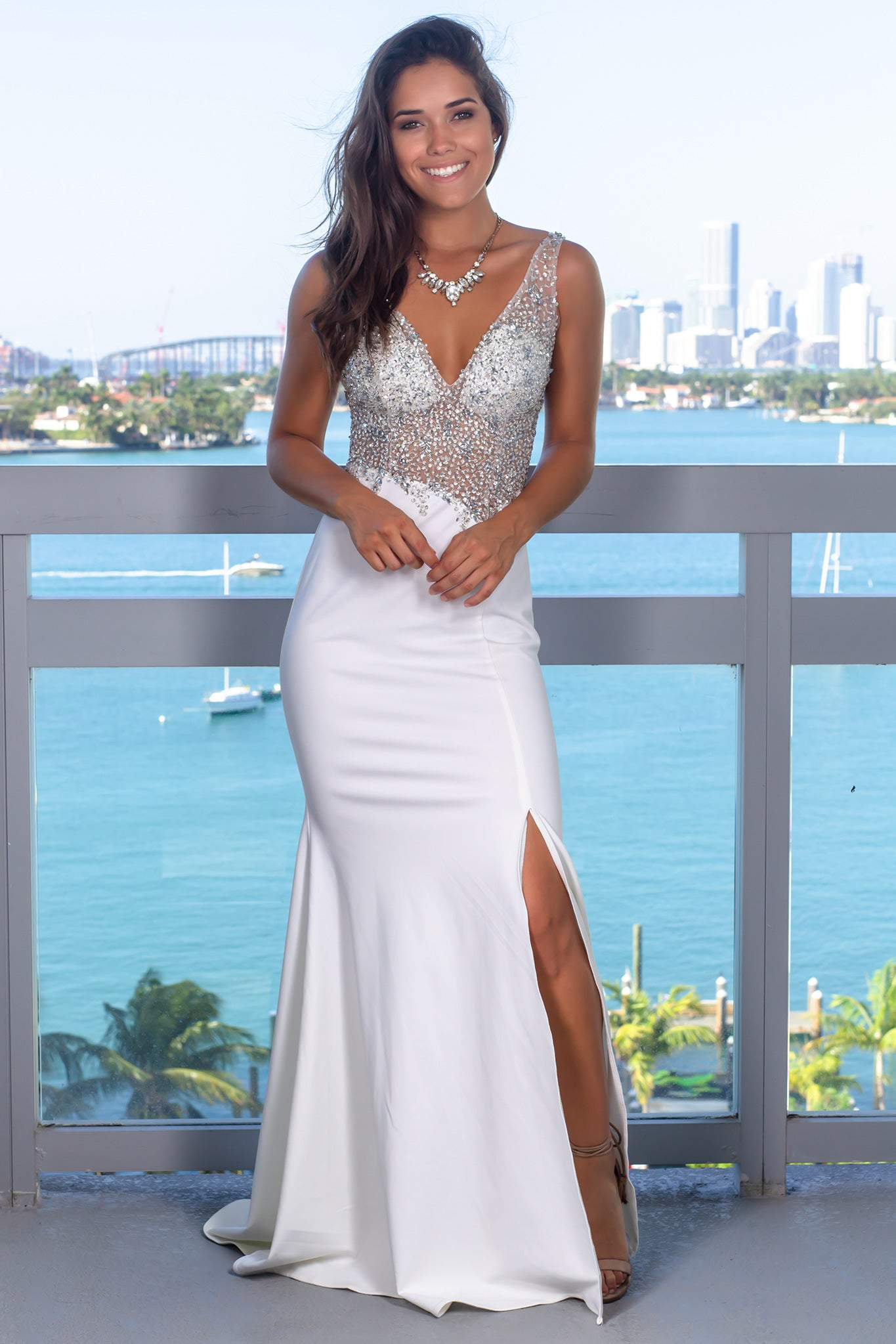 Cream Jeweled Top Maxi Dress with Open Back