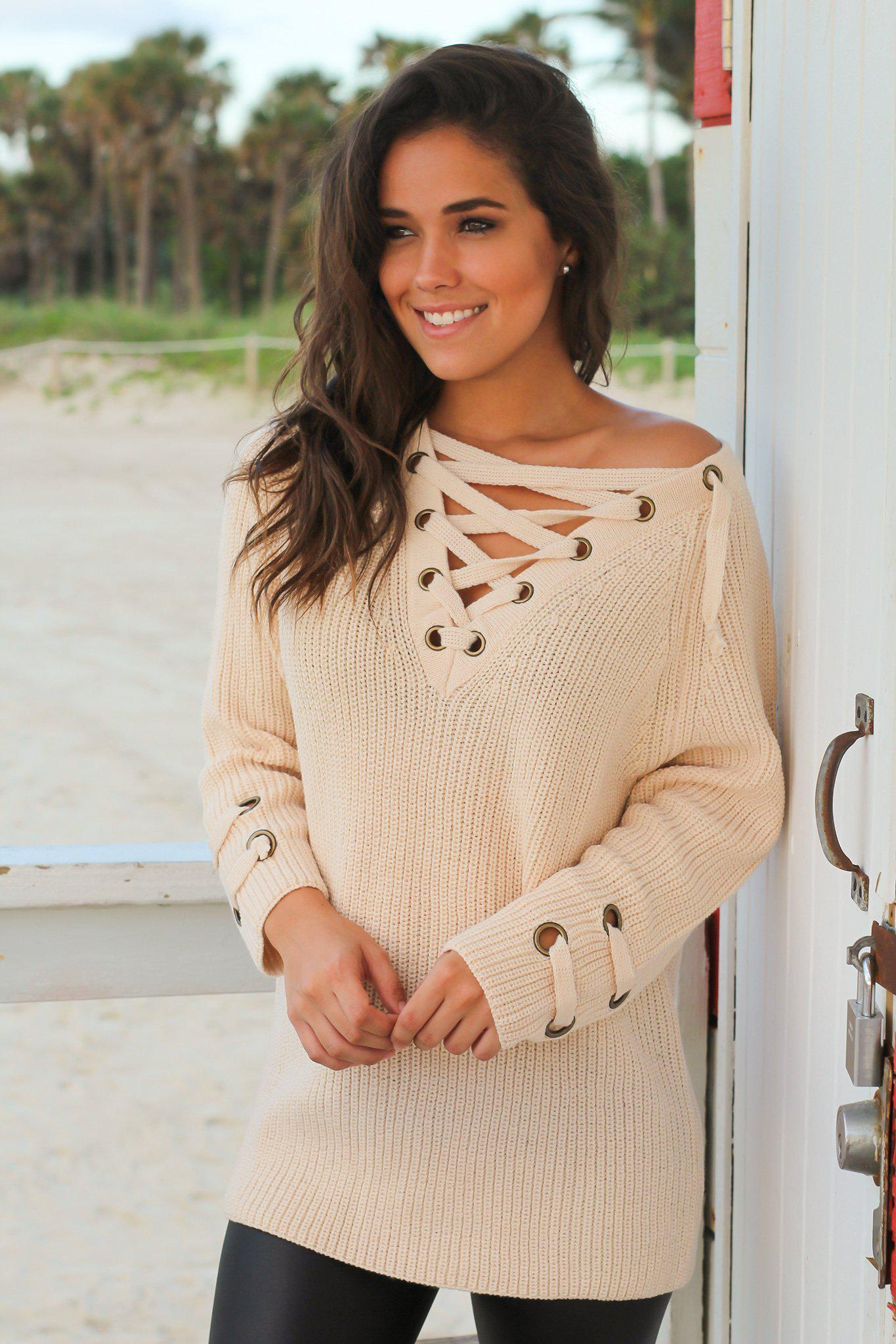 507c698bf8 Cream Knit Lace Up Sweater