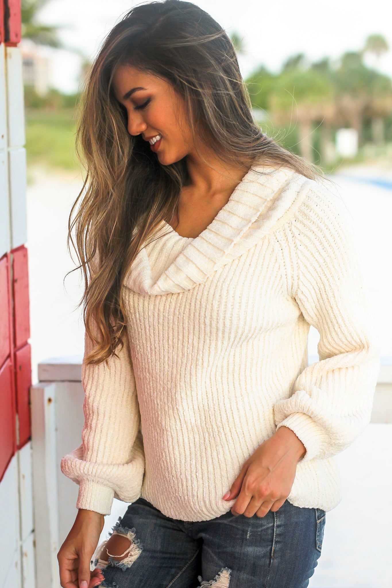 Cream Knit Off Shoulder Sweater