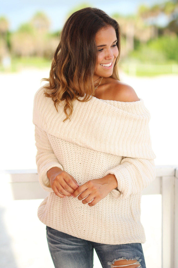 Cream Knit Oversized Sweater