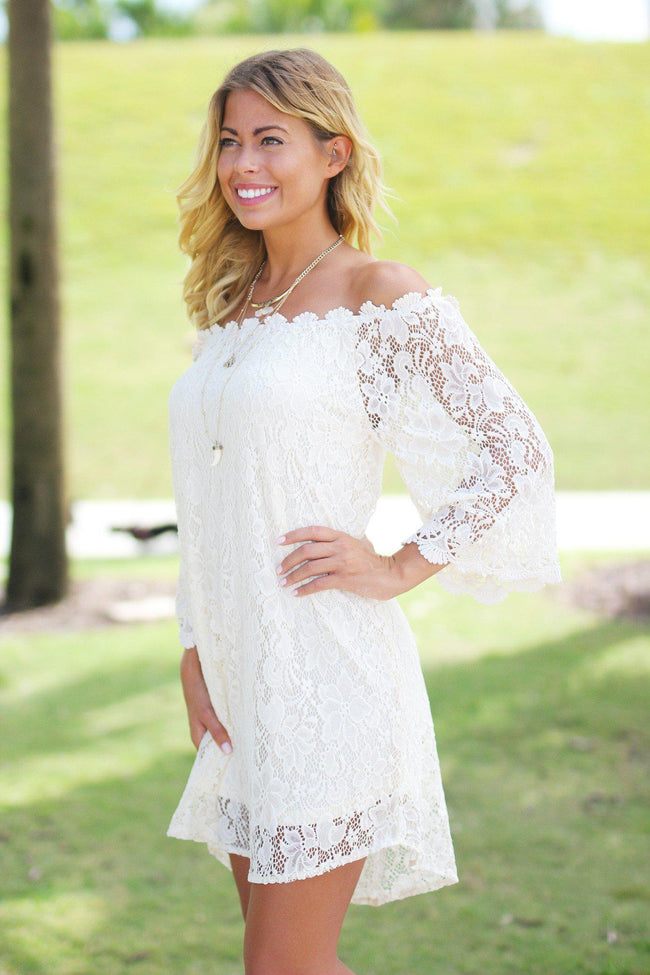 Cream Lace Off Shoulder Short Dress