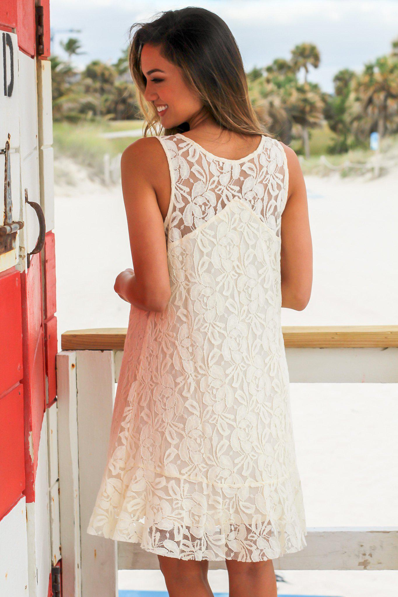 Cream Lace Short Dress