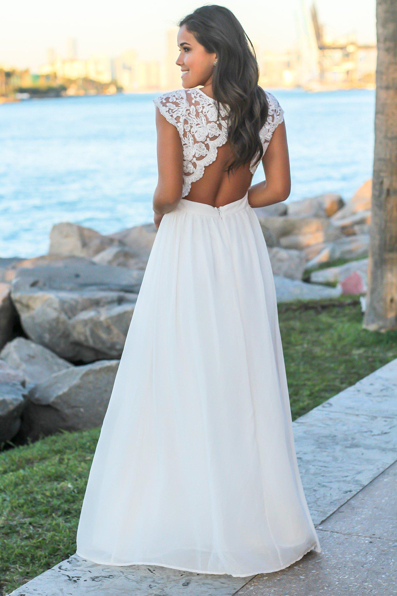 Cream Lace Top Maxi Dress with Open Back and Side Slit