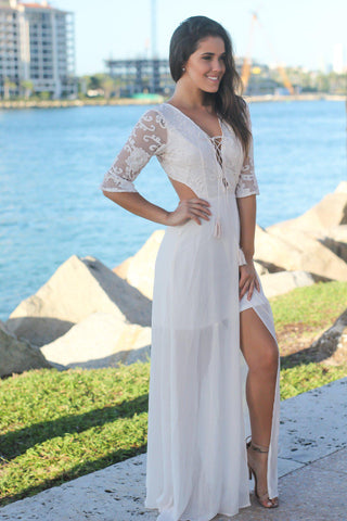 Cream Lace Up Top Maxi Dress with Open Back
