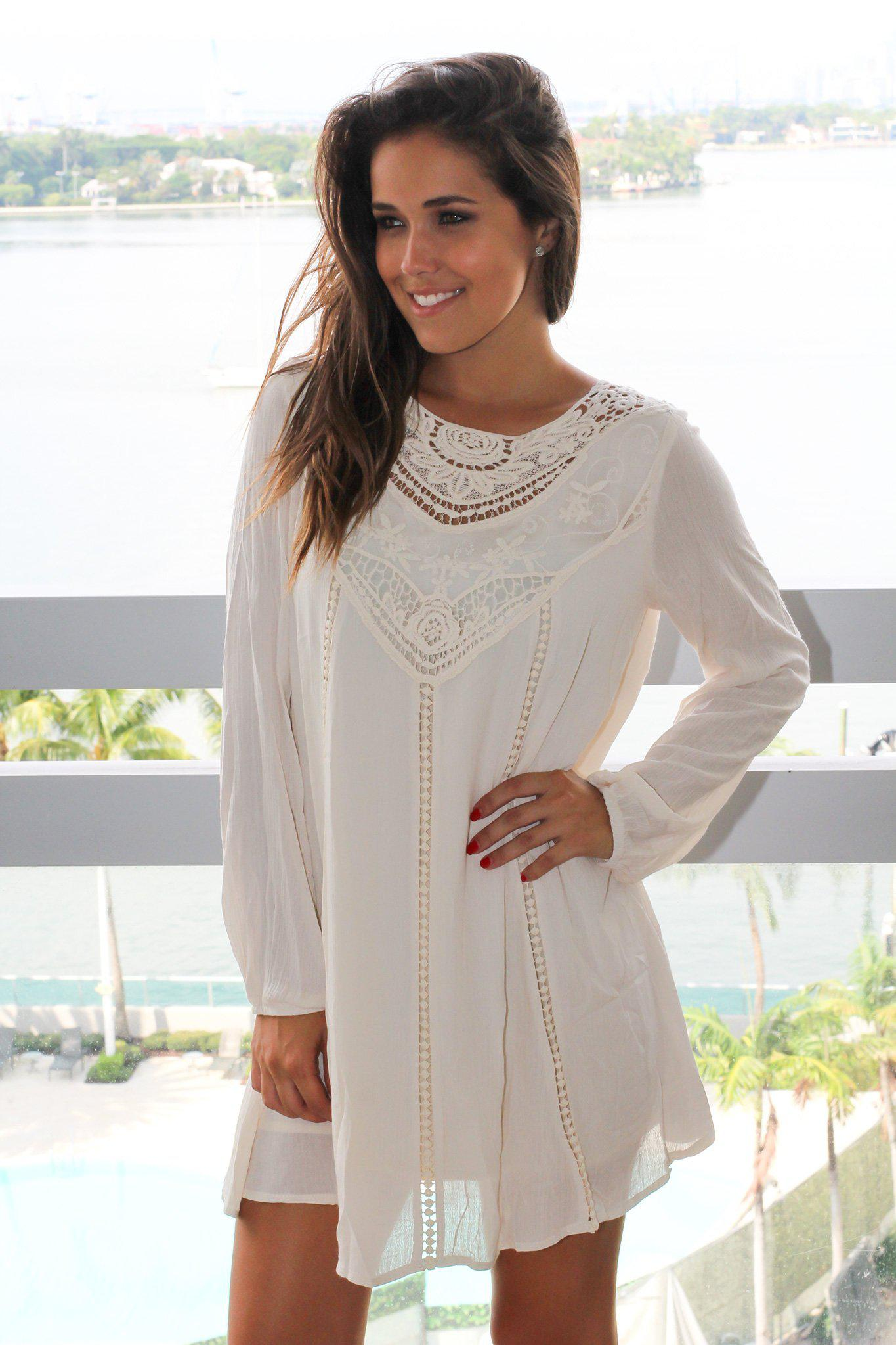 Cream Long Sleeve Short Dress with Crochet Top