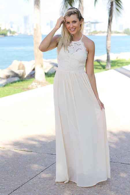 Cream Maxi Dress with Crochet Top