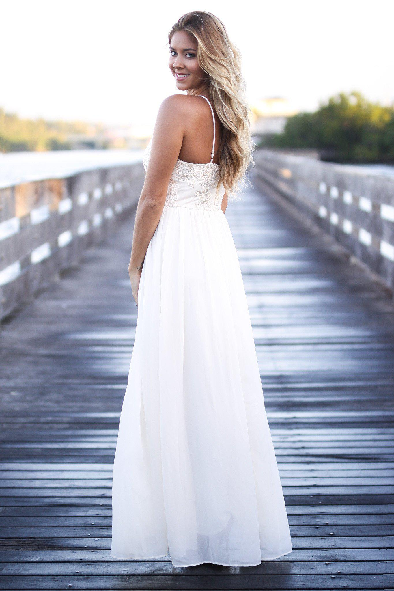 Cream Maxi Dress with Embroidered Top