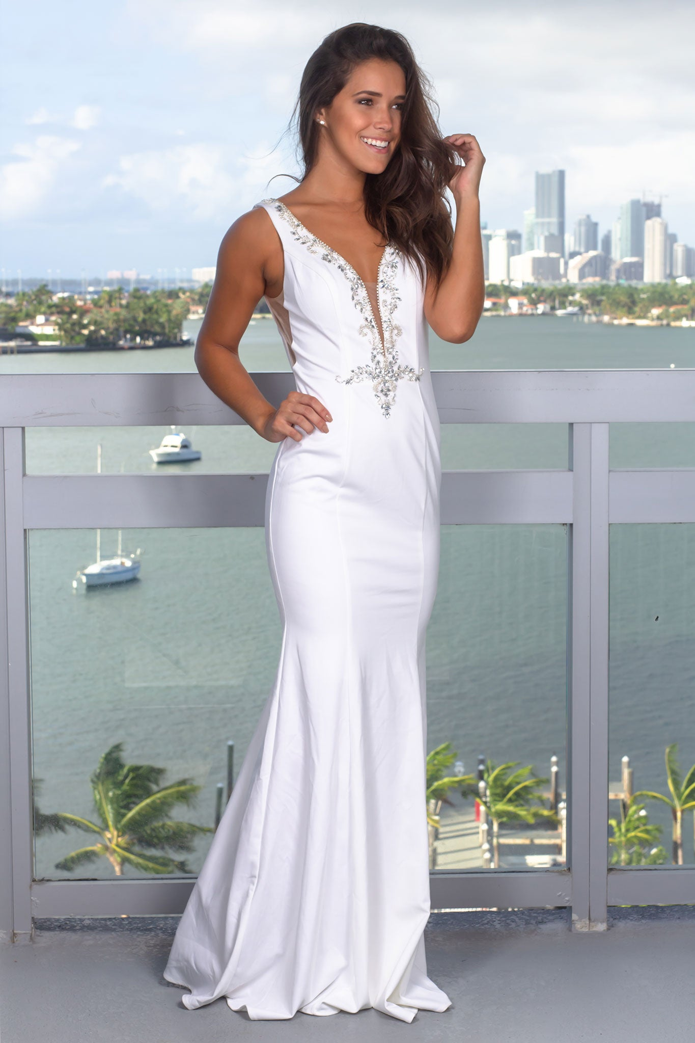 Cream Maxi Dress with Mesh Detail