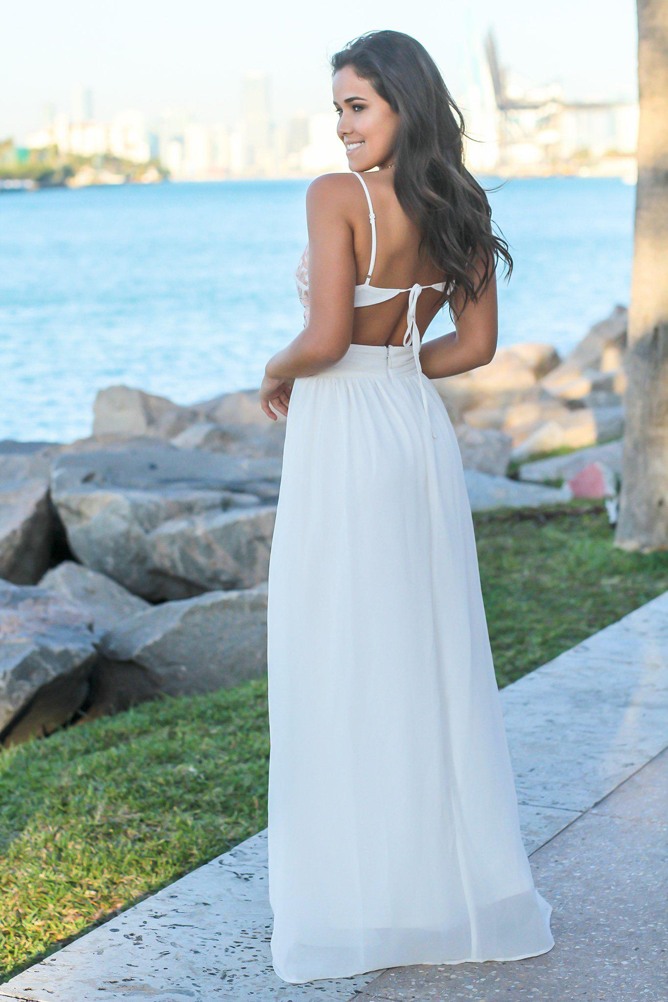 Cream Maxi Dress with Open Back and Embroidered Top