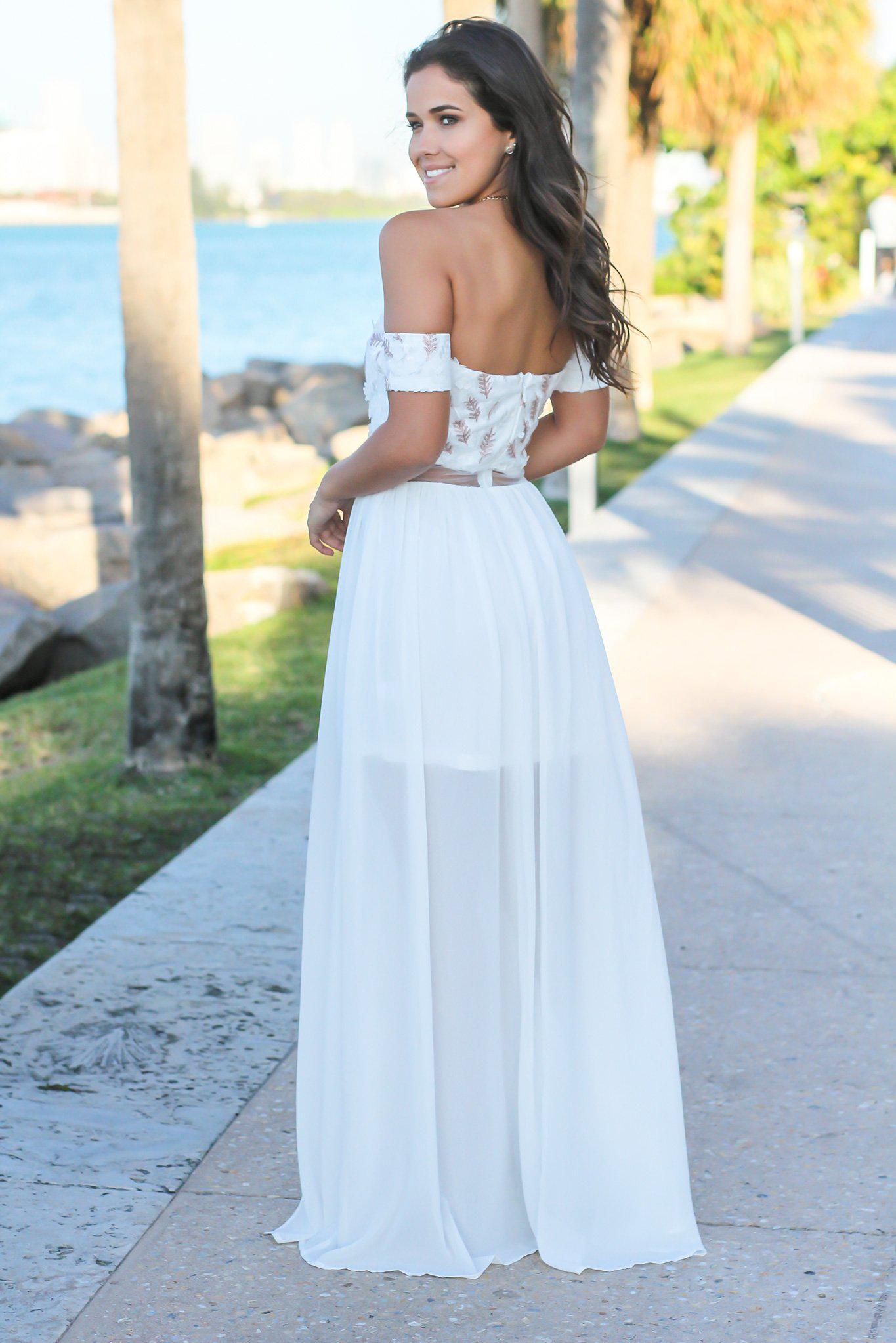 Cream Off Shoulder Maxi Dress with Embroidered Top
