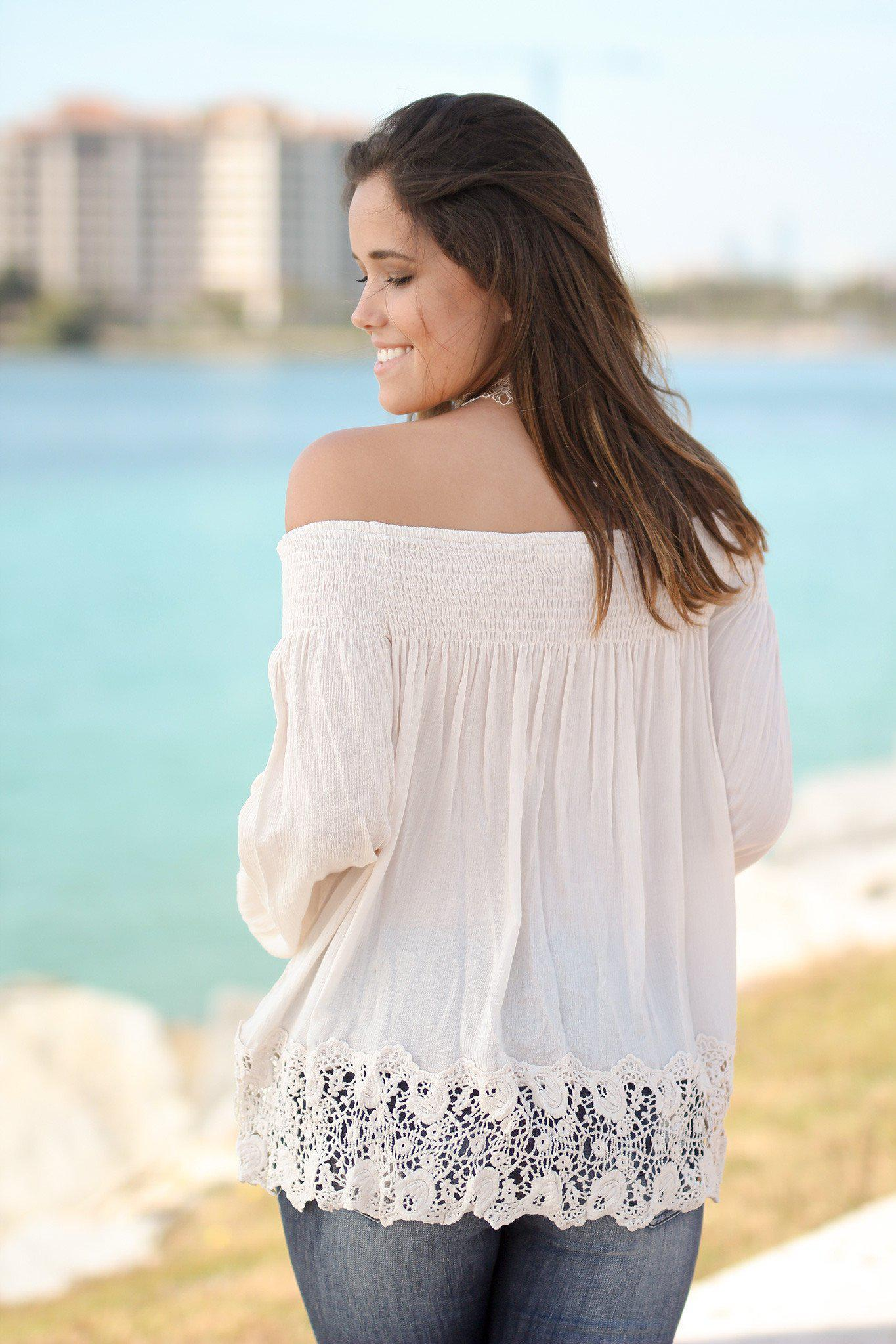 Cream Off Shoulder Top