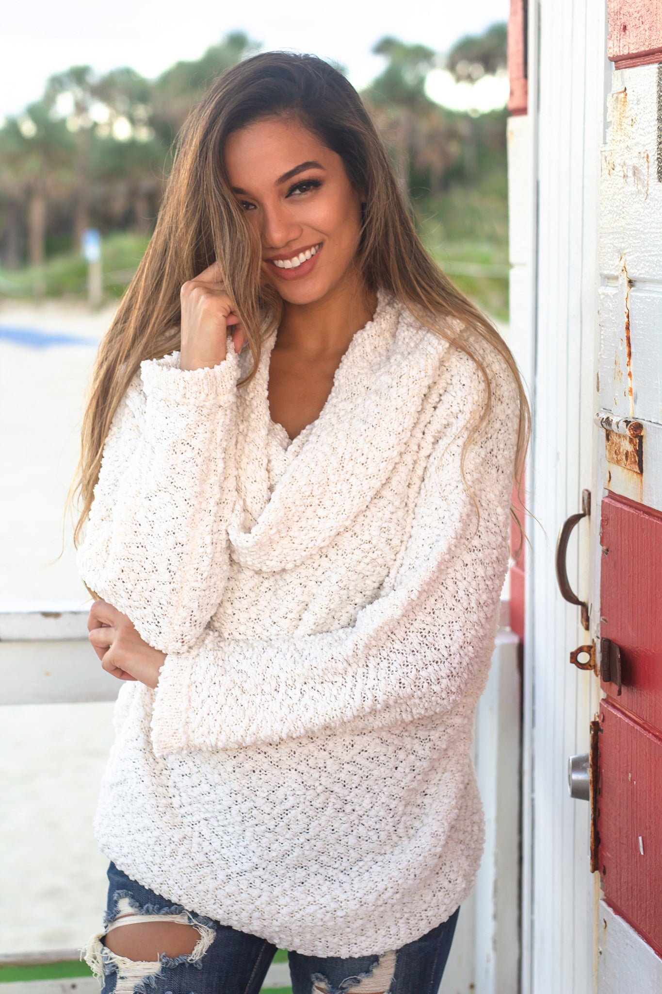 Cream Off Shoulder Tunic Sweater