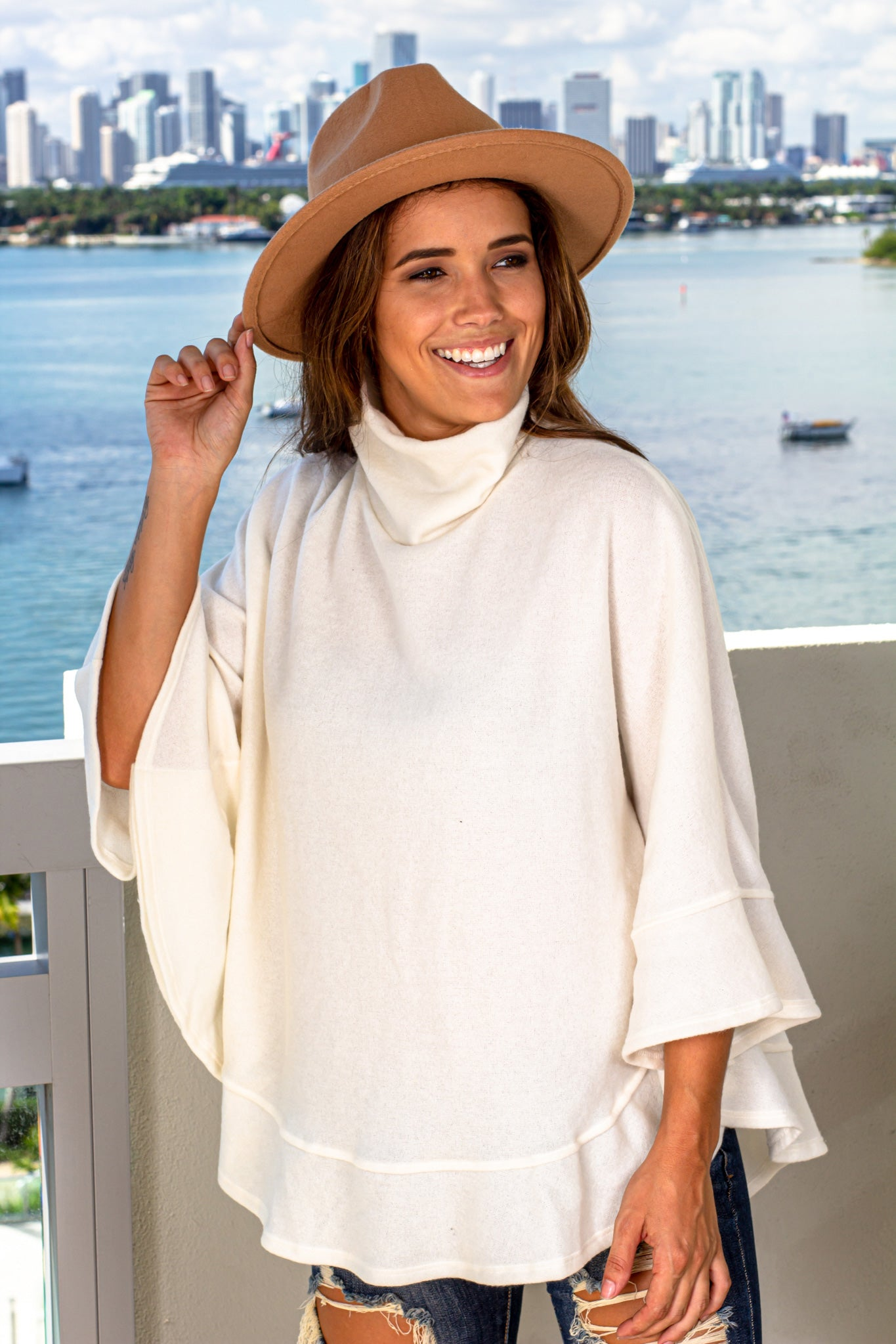 White Poncho Style Top With Lace Detail On Hem Free Size